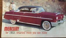 1953 Mercury Monterey Hardtop Factory Postcard Stamped - Waterbury