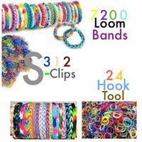 7200 mixed Pcs Bracelet Jewellery Making Rubber Loom Bands 312 S-clip & 24 Hook