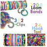 7200 mixed Pcs Bracelet Jewellery Making Rubber Loom Bands 312 S-clip & 24 Hook