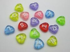 100 Assorted Transparent Acrylic Alphabet Letter Heart Beads 10X11mm
