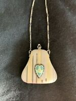 Antique Silver Tone Blue Guilloche Heart Enamel Bar Chain Compact