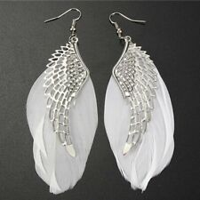 Fashion Womens Feather Angel Wing Silver Boho Hook Earrings Dangle Drop Jewelry