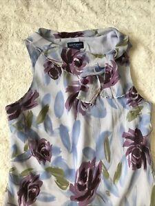 Ann Taylor Loft Petites Womens Size 10P Neck Blue Floral Sleeveless Silk Dress