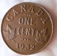 1932 CANADA CENT - Excellent Collectible Coin- FREE SHIPPING - Big Canada Bin