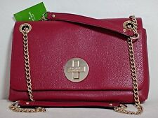 NWT Kate Spade Cynthia Town Road Flap Leather Shoulder Bag, Red Plum