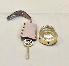 MICHAEL KORS LOGO GOLD LARGE LOCK & KEY HANDBAG CHARM SET  GOLD/DARK BLUSH  NWOT