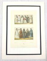 1888 Antico Stampa Italiano Religioso Processione Cattolico Nun Prete Costume
