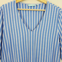 [ BLUE ILLUSION ] Womens V/neck striped Top | Size L or AU 14