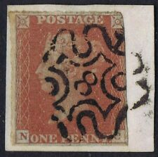 1841 1d Red Pl 39 Nc Fine London No 8 in Maltese Cross Cat. £160.00