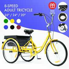 "26""/24""/20"" 8 Speed Adult Trike Tricycle 3-Wheel Bike w/Basket for Shopping"
