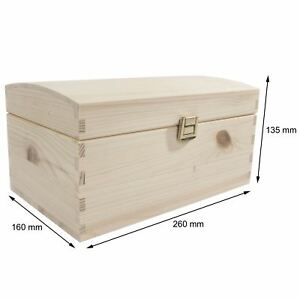 Small Wooden Treasure Chest / 26x16x13cm / Unpainted Pine Storage Box For Craft