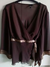 Laura K Top Size 16 Brown chiffon with satin tie