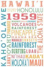 Hawaii typography Lantern Press Postcard (E75)