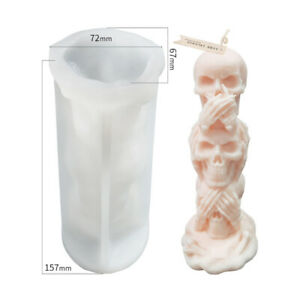 Skull Resin Silicone Halloween Tool Large DIY Funny Candle Mold Mould