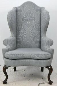 Kittinger Williamsburg Mahogany Wing Chairs Blue Damask Fabric CW 163 Rare