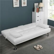 LuxuryGoods Modern Faux Leather Futon Sofa with Cup Holders, White