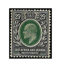 East Africa Uganda Protect. stamp 1907 Edward VII 25c. green/black SG40 MH -F473