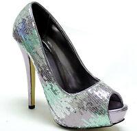 New women's shoes peep toe sequins evening stilettos high heel pewter formal