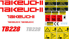 TAKEUCHI TB228 MINI DIGGER COMPLETE DECAL SET WITH SAFETY WARNING SIGNS