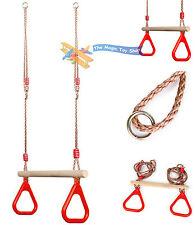 enfants bois trapèze BARRE Singe balançoire de corde anneaux pour jardin