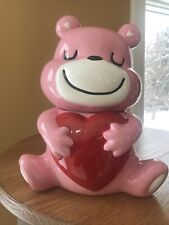 �� Valentine's Day Smile-Pink Bear Holding/Hugging Heart Cookie/Candy Jar Gift
