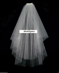Bridal Veil, Wedding,Communion Veil 2T Elbow CUT EDGE White Ivory Crystal pearl