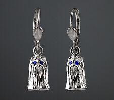 Boucles d'Oreilles Chien YORKSHIRE en 3D -Yeux SAPHIRS Bleus. Earrings YORKSHIRE