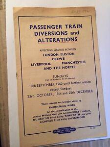 Railway Handbill Train Alterations Euston Crewe Liverpool Manchester 1960