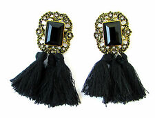 Black & Gold Art Deco 1920s Vintage Style Earrings Stud Drop Tassel Flapper 1056