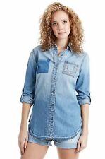 True Religion Women's $159 Boyfriend Indigo Button Up Shirt/Top - 200237