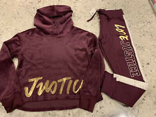 Nwt Justice Gilrs Velour Logo Crop Hoodie Justice Logo Joggers Size 8 Outfit