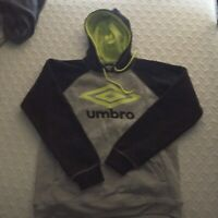 Men's New Umbro Black Gray Hooded Sweatshirt, Medium