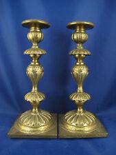 PLEWKIEWICZ signed antique Polish Poland brass Sabbath candlesticks candles