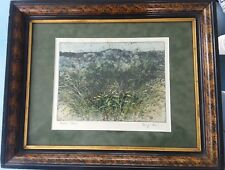 "Aquatint etching ""Hickory Barrens"" by G. Olson"
