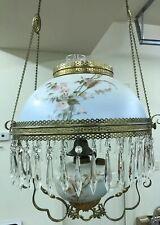 Antique Victorian Miller Hanging Oil Library Kerosene Parlor Ceiling Lamp Light