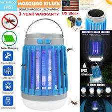 Solar Electric Shock Mosquito Insect Bug Fly Killer Pest Zapper Lamp Waterproof