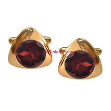 Natural Garnet Gemstone With 925 Sterling Silver Gold Plated Men's Cufflinks