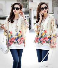 1PC Women Ladies Batwing Sleeve Blouse Chiffon Bohemian Flower Oversized Shirt
