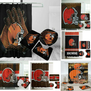 Cleveland Browns Bathroom Rugs Mat Shower Curtain 4PCS Non-Slip Toilet Lid Cover