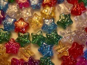 Glitter Stars Pony Beads Size app, 13mm  Mixed Colour