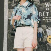 Japanese Cute Women Girl Kawaii Shirt Short Sleeve Top Blouse Cat Lolita Sweet