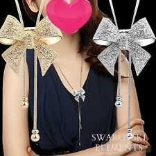 SAUTOIR long collier pendentif noeud papillon swarovski Elèments plaqué or