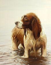 """John silver """"eau de source"""" spaniel chien signé ltd ed! taille: 59cm x 47cm neuf rare"""