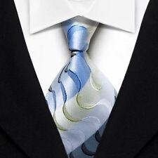 QS60 Blue Black Stripe Silk Classic Elegant Jacquard Woven Men's Tie Necktie