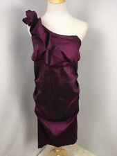 Betsy & Adam Iridescent Purple 18W Plus 1-Shoulder Ruffle Ruched Dress PROM $229