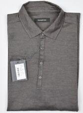 Ermenegildo Zegna Mens 2018 Wool Silk Brown Long Sleeve Polo Shirt L New $700