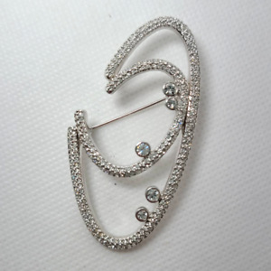 Swarovski Silver Tone Abstract Oval Brooch Pin Clear Stone Swan Signed