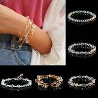 Square Beaded Friendship Bracelet Crystal Fashion Elastic Bangle Jewelry Gift