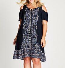 Plus Size Autograph Navy Blue Cold Shoulder Floral / Paisley Midi Dress Sz 14
