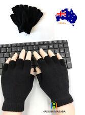 Winter Fingerless Gloves Warm Soft Black Knitted Men Women Unisex